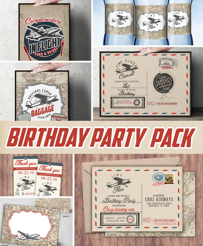 Time Flies party pack  vintage airplane invitation travel image 0