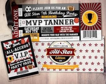 Vintage, All-Star Invitation //  Little Slugger Birthday //  BIRTHDAY invitation, boy birthday, sports birthday, ticket invitation
