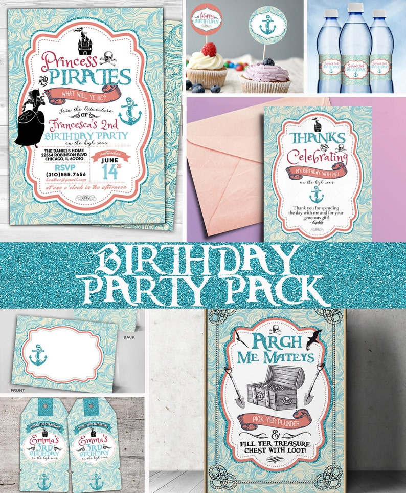 Princess and pirates Party Invitations labels tags Pirate image 1