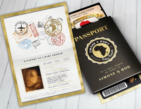 African Passport Ticket Baby Shower Invitation Birthday Etsy