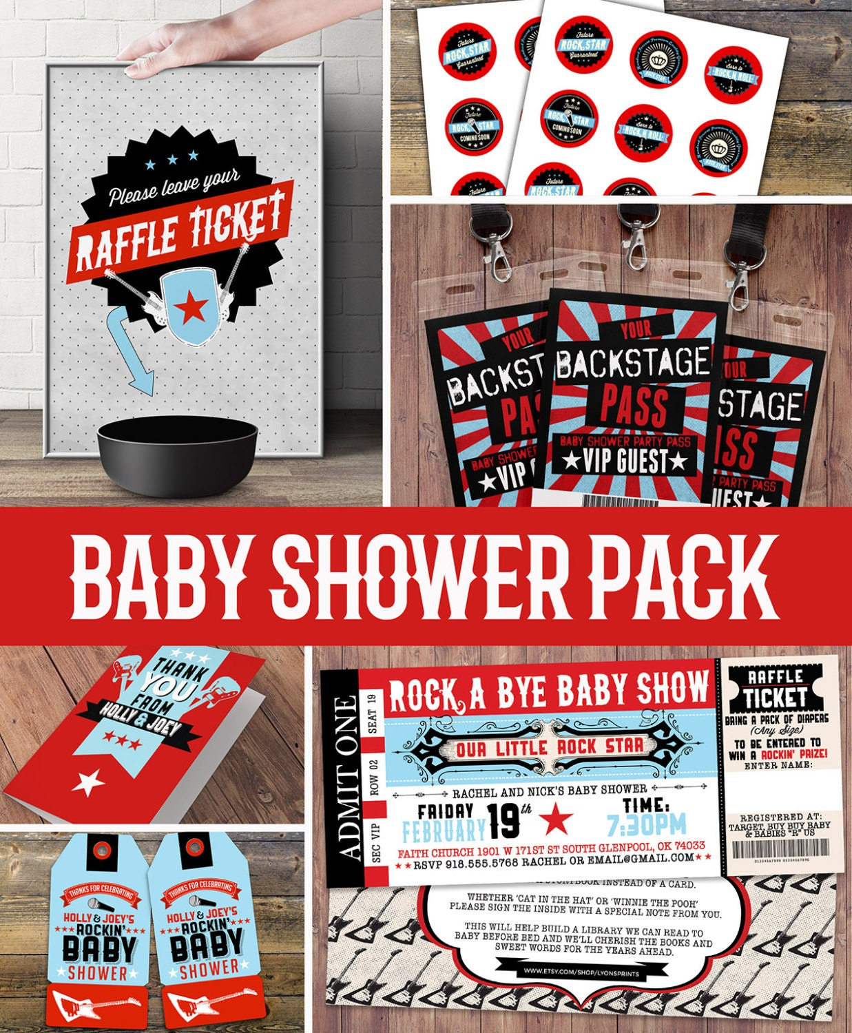 Party pack, party decorations, Coed baby shower invitation- rockstar ...
