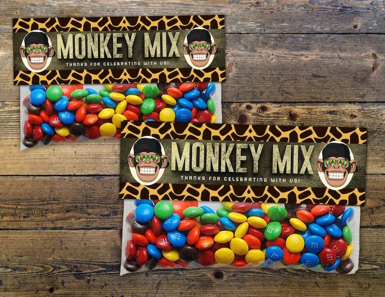 Safari Animals Treat Bag Toppers  monkey  Jungle Favor image 1