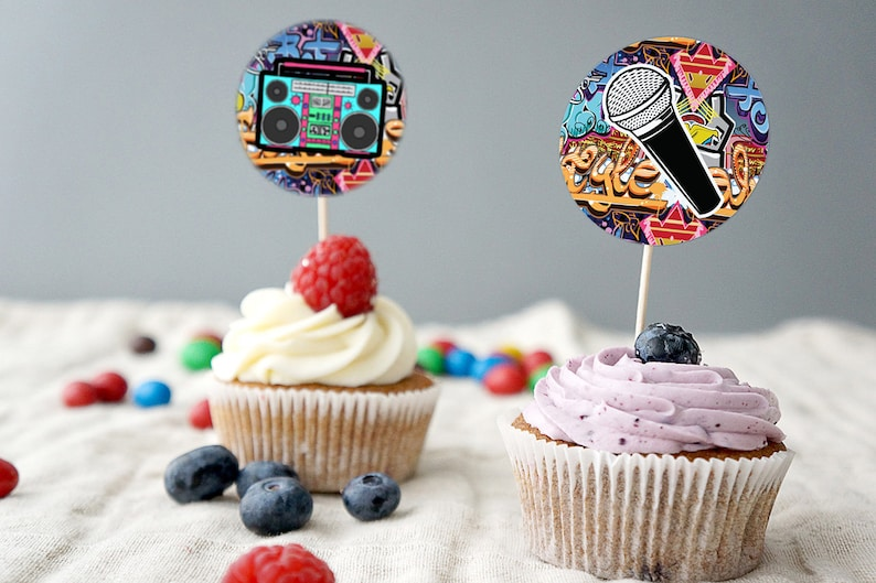 Cupcake toppers Fresh Prince Birthday Baby Shower Hip Hop image 0