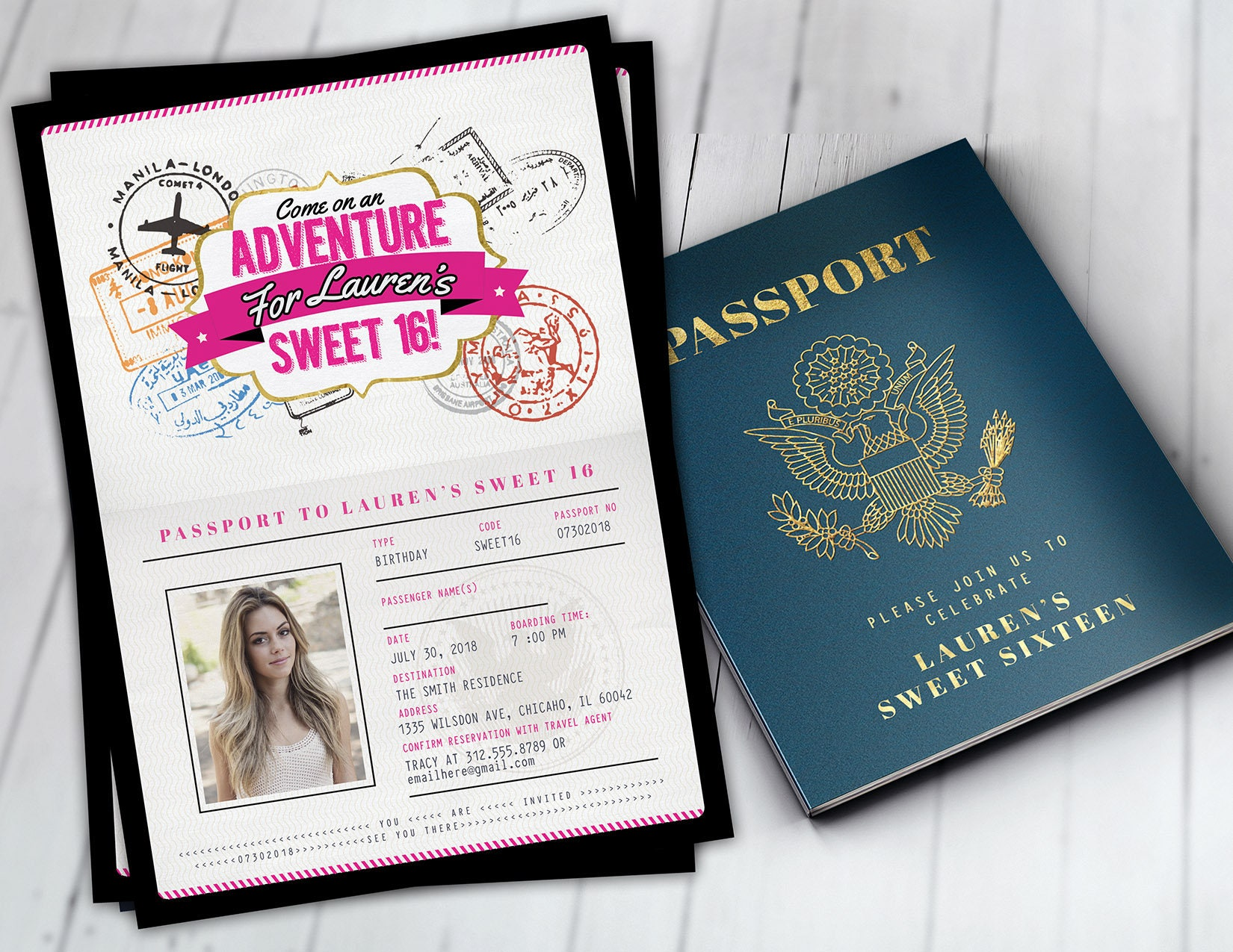 Any age sweet 16 birthday invitation travel invitation any age sweet 16 birthday invitation travel invitation destination passport invitation birthday invitation travel themedigital files filmwisefo