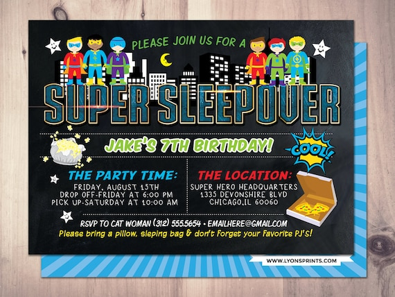 Super Hero Party Invitation Sleepover