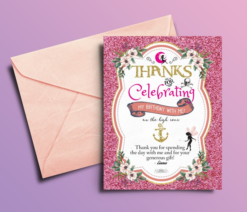 Fairy Pixie thank you card Pirate and Princess Birthday image 0