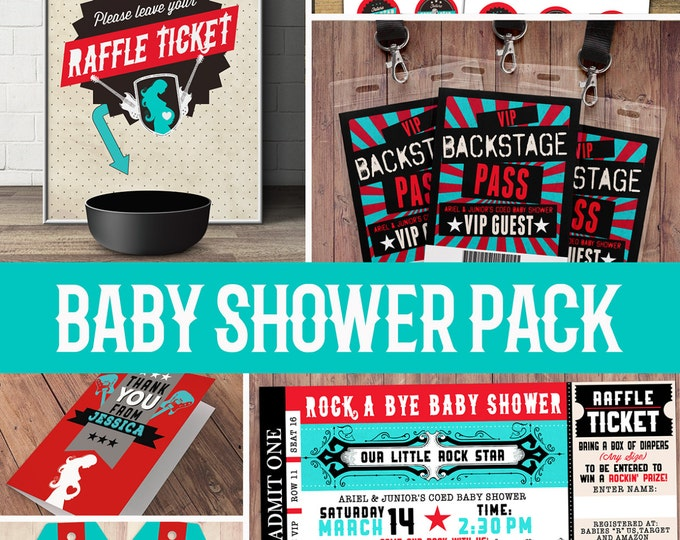 Party pack, party decorations, Coed baby shower invitation- rockstar invitation- boy baby shower, thank you, raffle ticket, party sign