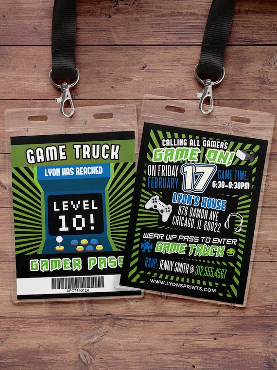 Video Game Invitation Game Truck Party Invitations Video