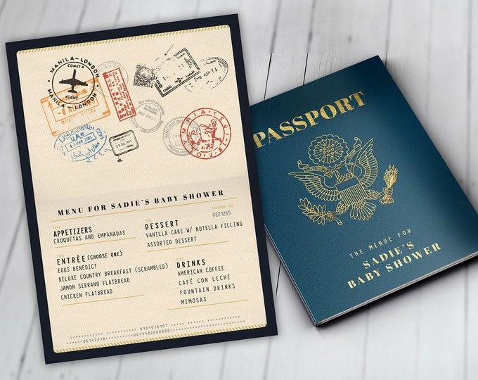 Menu, Itinerary, passport, precious cargo, travel theme, travel party, Graduation, baby shower, birthday, wedding, Digital files only