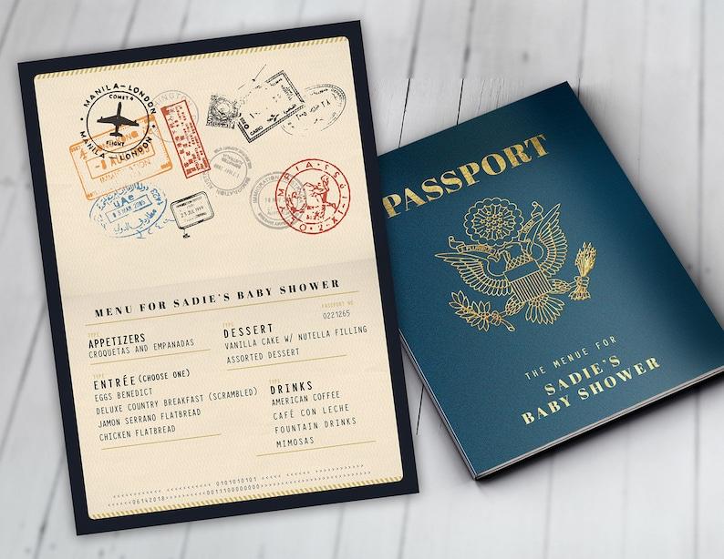 Menu Itinerary passport precious cargo travel theme NAVY BOOK