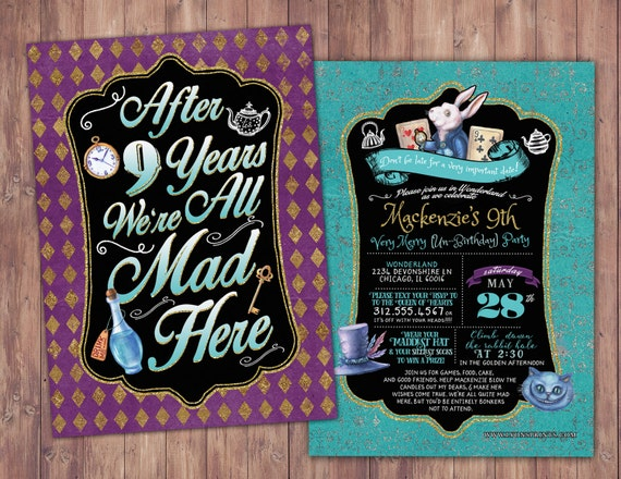 Any Age Mad Hatter Tea Party Alice In Wonderland Invitation Etsy