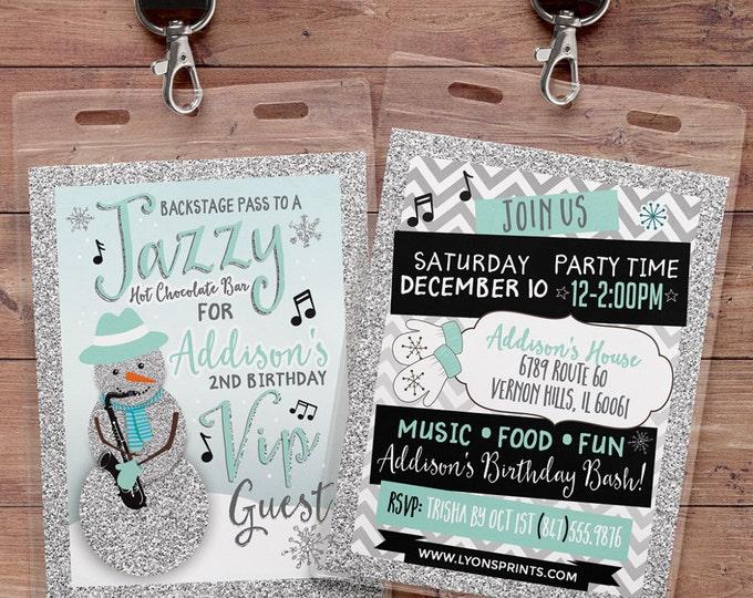 Winter, Birthday invitation, winter ONEderland,- Jazz invitation, Jazz, snowman invitation, VIP pass, retro, music notes, hot chocolate bar
