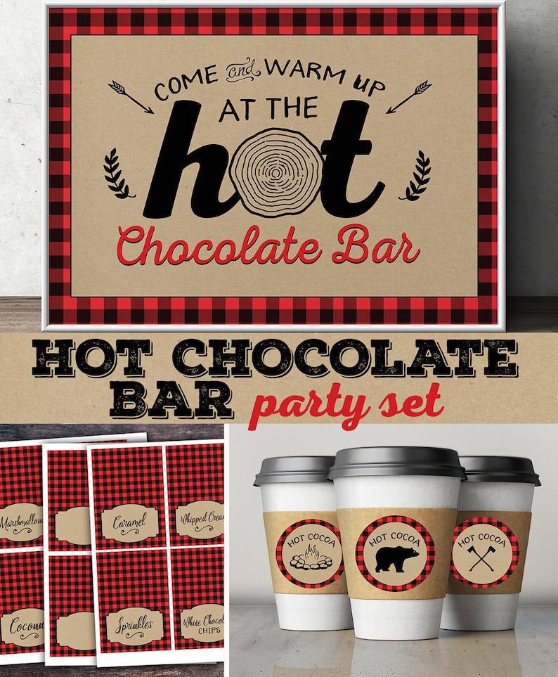 Hot chocolate bar Lumberjack party Woodland baby image 0