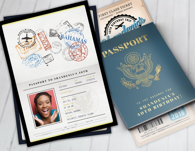 Passport and ticket birthday invitation travel birthday party image 0