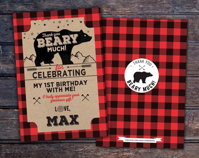 Lumberjack thank you card, Lumberjack birthday //  Buffalo Plaid Woodland  // Rustic //  Bear , camping, moose