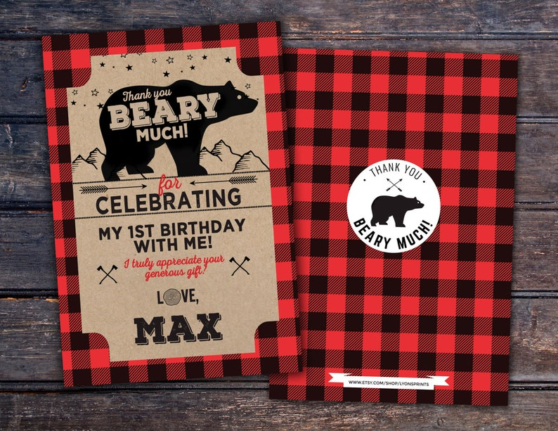 Baby shower thank you digital file only Lumberjack thank RED BEAR