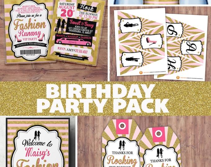 Party Pack, Rock the Runway, ticket birthday party invitation- popstar invitation-  rockstar party, fashion birthday, high fashion, runway