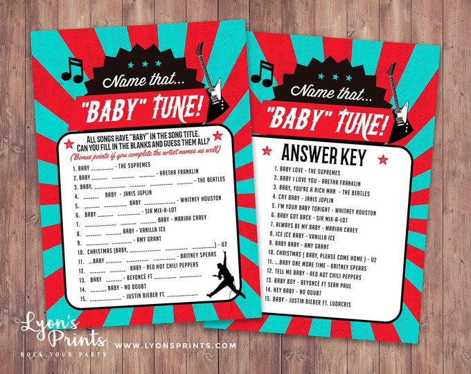 Name that baby tune game card, Rockstar (Printable File Only) baby shower game, baby shower, baby shower games,