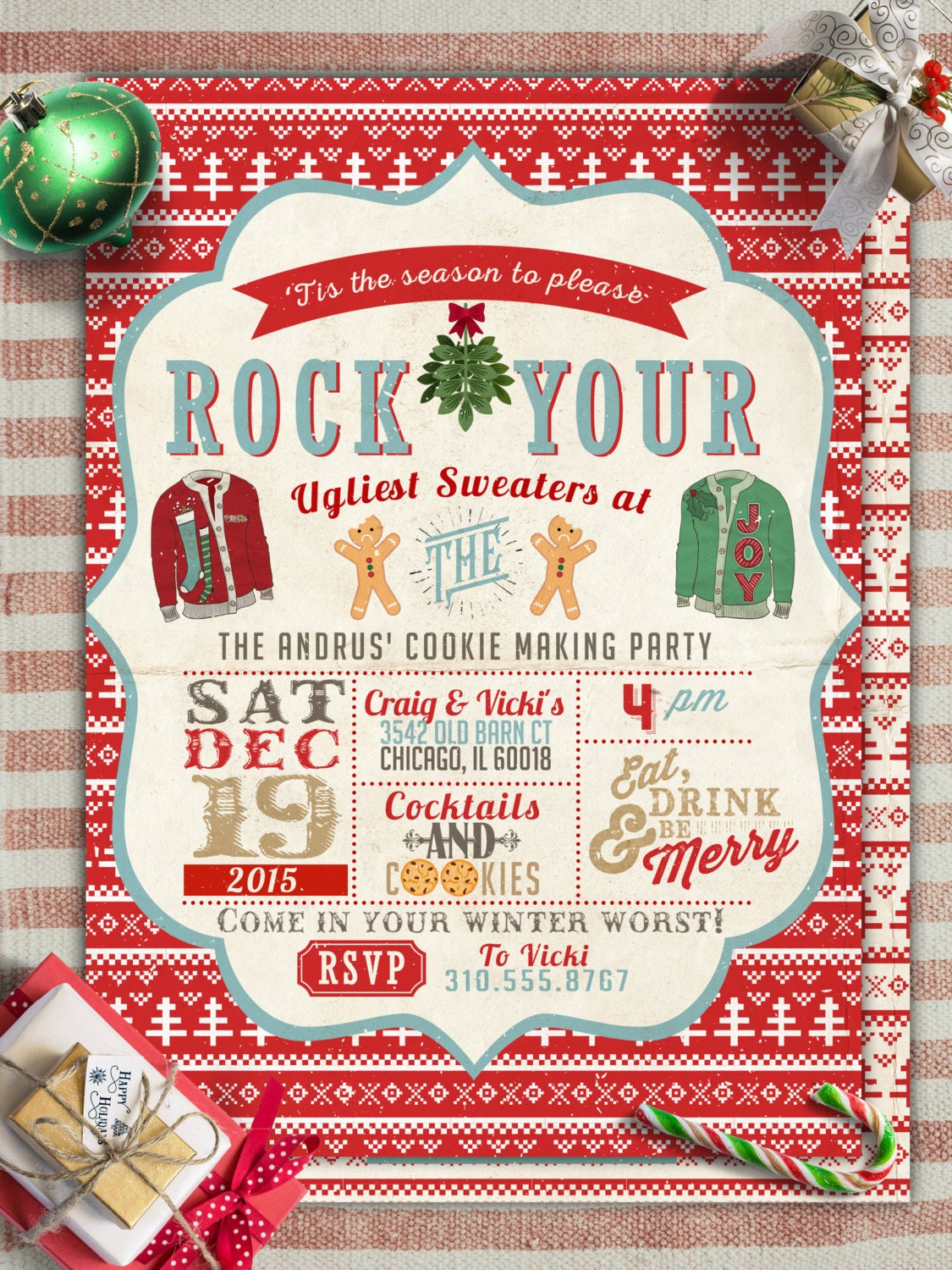 Cookie Ugly Sweater Party Christmas Holiday Party Invitation