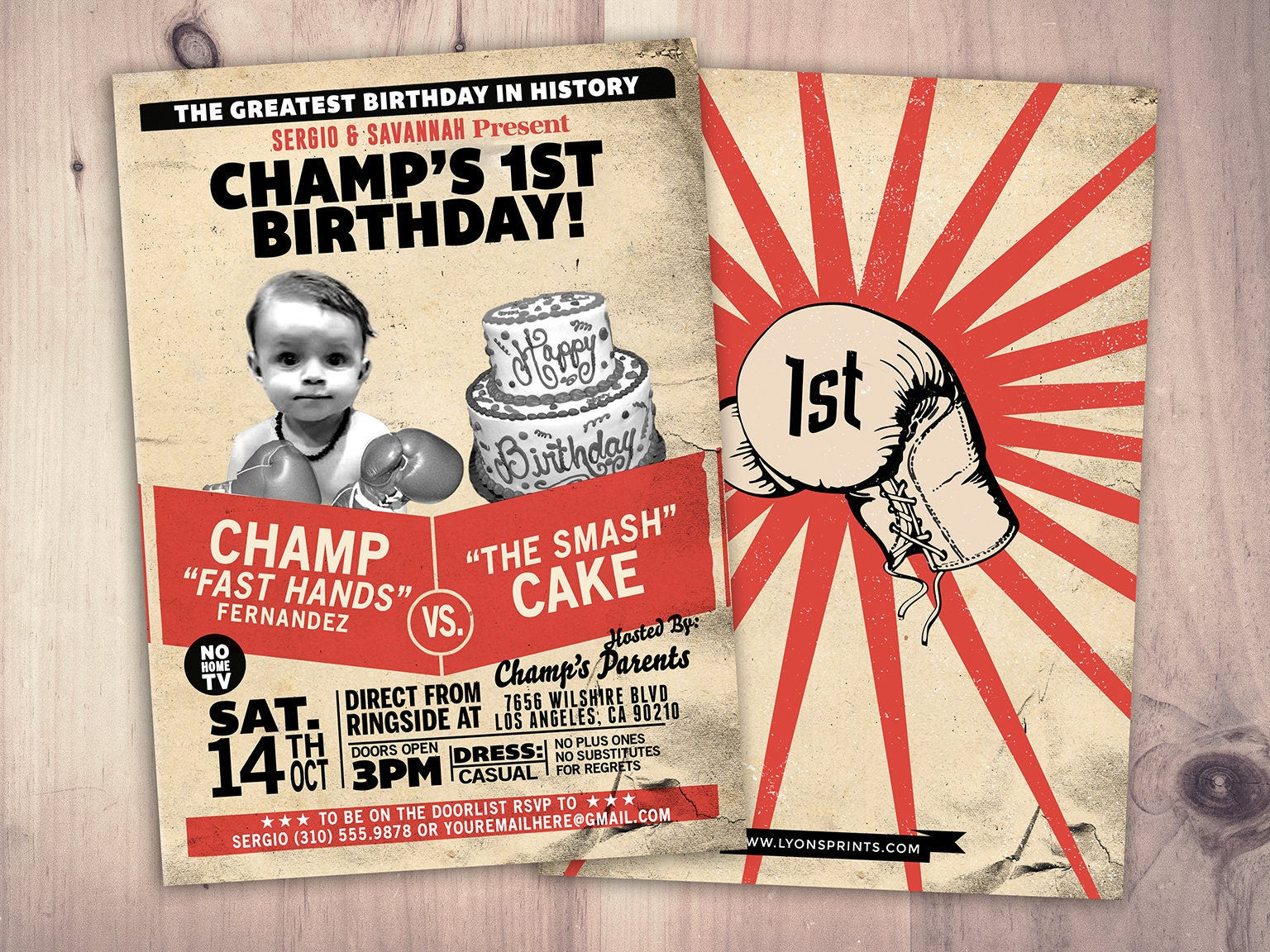 Twins birthday,Retro, vintage boxing, birthday invitation, boxing ...