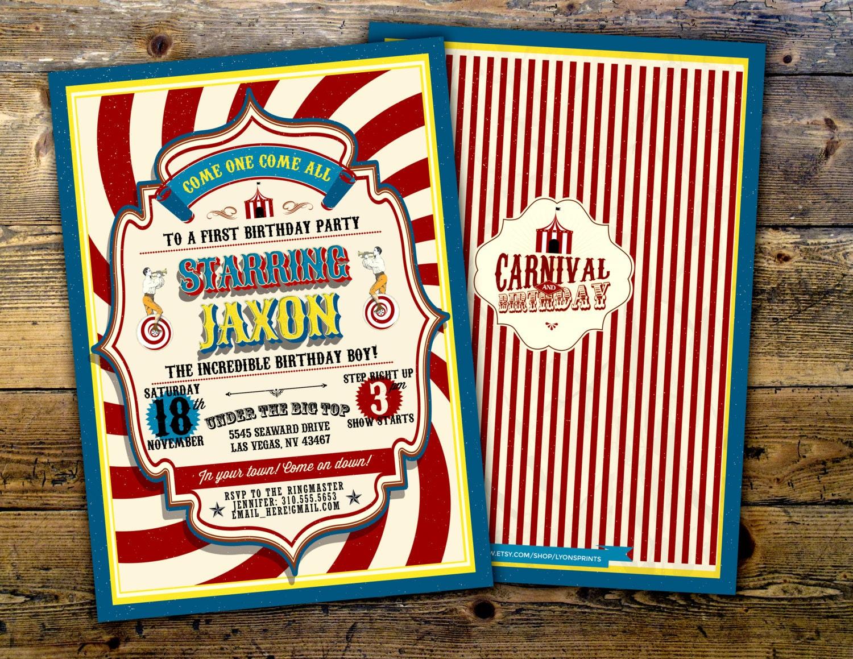 First Birthday Circus Ticket Carnival Invitation