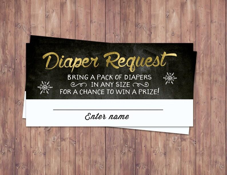 Winter baby shower diaper raffle Retro chalkboard Baby image 0