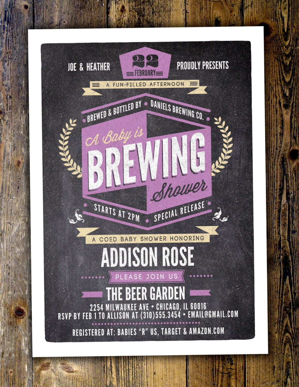 BBQ Baby is brewing Coed baby shower invitation- Beer baby shower invitation- couples baby shower Digital Files Only
