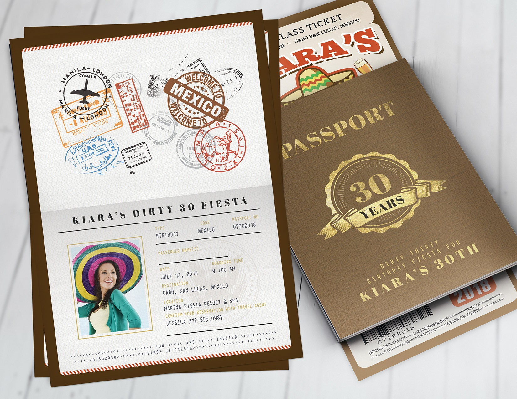 Passport And Ticket Birthday Invitation Travel Party Cruise Mexico Digital Files Only