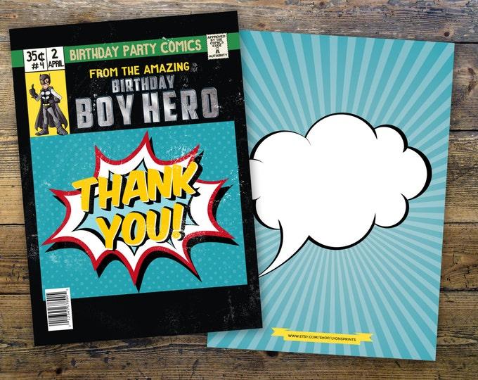 Super Hero Birthday Invitations, Super Hero thank you card,  Hero Invitation, Super Hero Party, Comic Invitation, Invite, thank you, comic