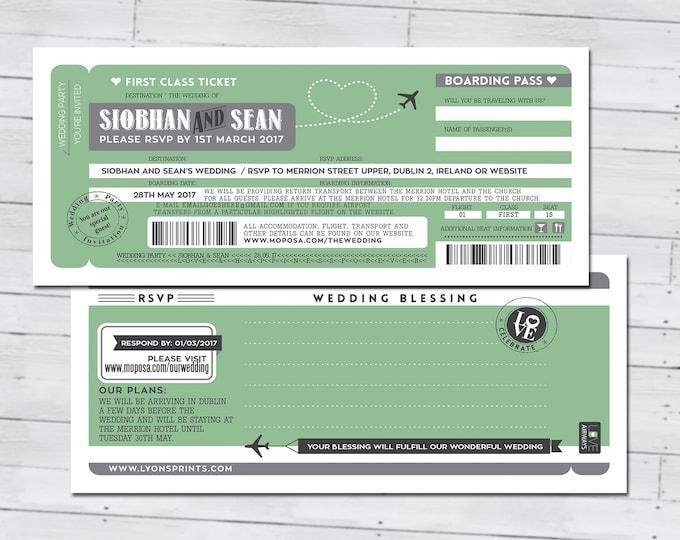 Personalised PASSPORT and TICKET wedding invitation, RSVP card, destination wedding, Ireland, Irish, wedding, Ireland Irish Eire, Travel