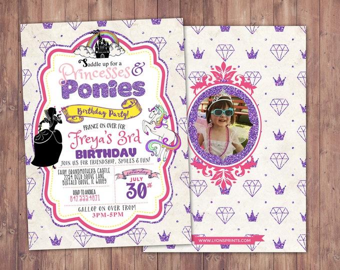 Princess, pony Party Invitations, Princess Birthday Invitation, horse, birthday, girl birthday, my little ponies, horse party