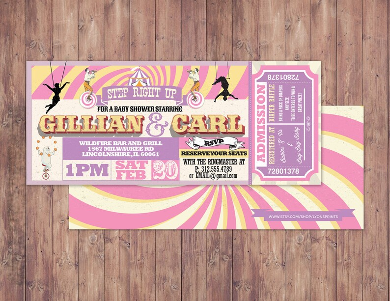 CIRCUS Baby Shower Invitation Animal baby shower invitation-couples shower Carnival baby shower invitation-Coed baby shower invitation