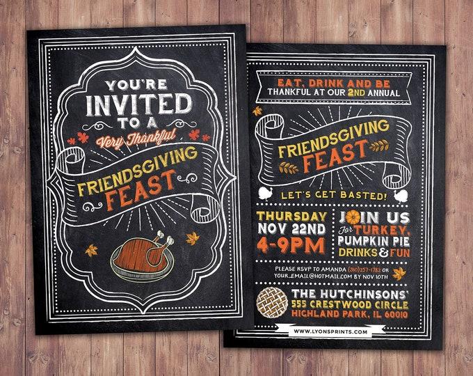 Friendsgiving Invitation Printable, Friendsgiving Party, Potluck, Friendsgiving Dinner Party, Thanksgiving Dinner Party Invitation, chalk