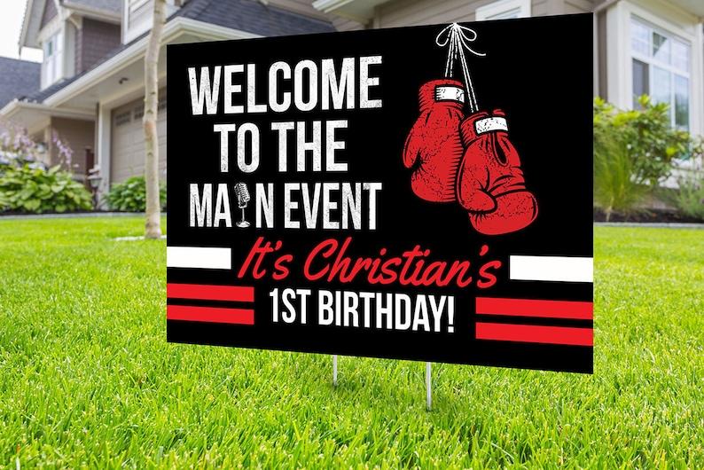 Boxing birthday yard sign design Digital file only yard image 0