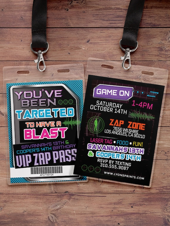 image relating to Zap Zone Printable Coupons identify Laser tag invitation - VIP p birthday invites for laser tag social gathering - Boys birthday bash invitation - laser gun, video clip match,