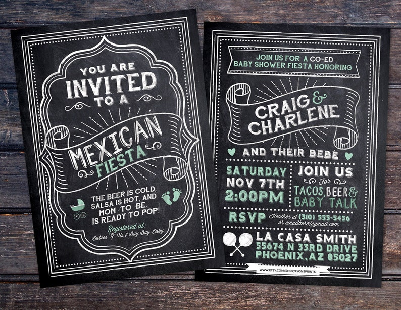 baby is brewing Mexican Fiesta Mexican babyq chalkboard couples co-ed Baby Shower BBQ invitation fiesta baby girl shower