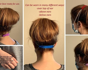 Original Patent Pending Elastic Mask Extender -Face Mask Ear Saver -Solid Colour Adult Size Mask Extender