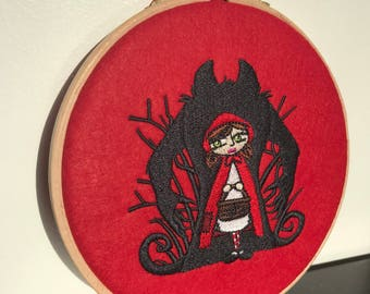 Little red riding hood in the hoop embroidery, red riding hood embroidery, alternative fairytales, dark fairytales, embroidery