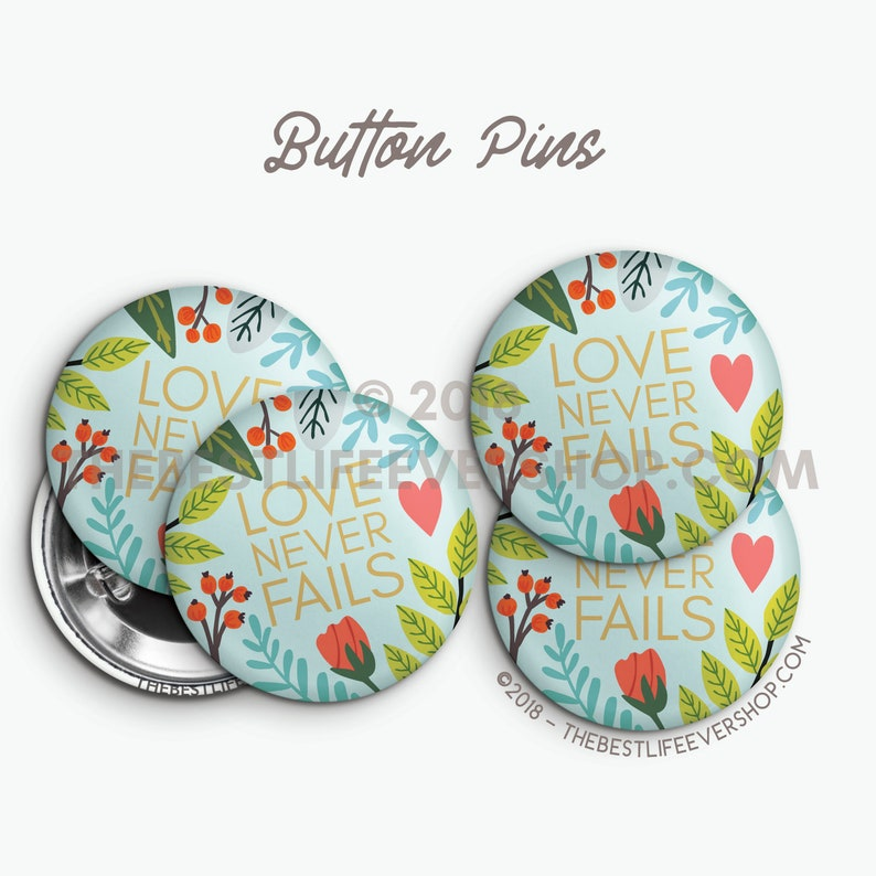 Love Never Fails Button Badge Pins Set - Turquoise Floral - 2019 Convention  - Regional - International - gifts - best life ever - jw org