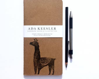 Llama Notebook, Llama Travel Journal, Travel Journal Insert, Midori Insert, Traveler Journal, Travel Notebook, Llama Notebook, Unique Gift