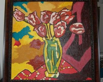 Original Painting Skull /& Fruits Oil on Canvas 24 x 24 ArtAbstractBones