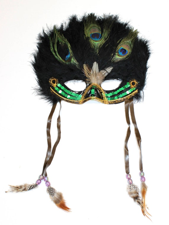 Coxeer Venetian M53 Feather Masquerade Mask Mardi Gras Mask  for Halloween