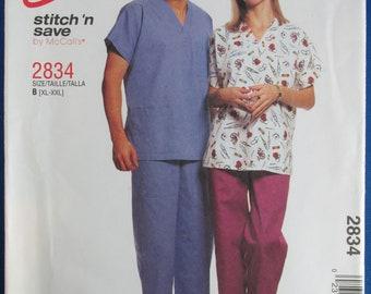 Vintage Fleur De Lis Scrub Pants Hospital Pants  Large Mid Century  Middletown Hospital 60s 70s Vintage Uniform Nurse Orderly