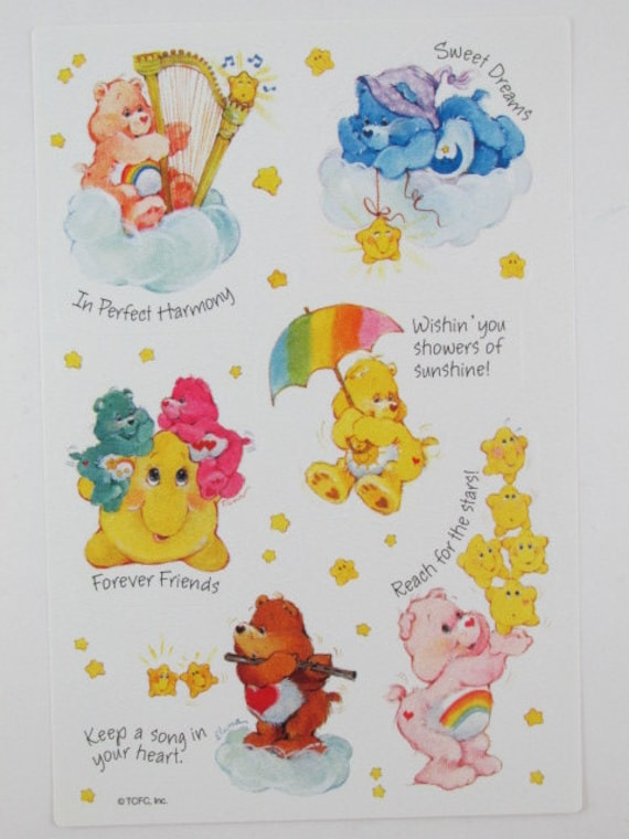"6 Sunshine//Tenderheart//Cheer//Share// Care Bears 2.5"" x 2.5/"" Party Favor Stickers"