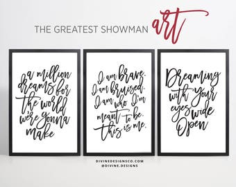 The Greatest Showman Quotes And Lyrics BUNDLE   9 PRINTABLES   5 SIZES    Instant Download   Black And White   Greatest Showman Movie Art