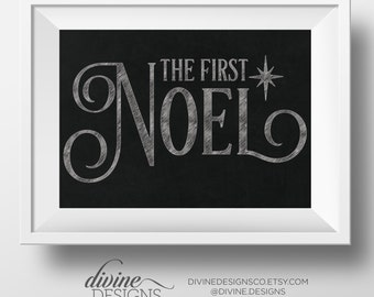 the first noel christmas song printable chalkboard design christmas decoration instant download