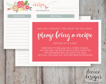 bridal shower please bring a recipe cute bridal shower idea instant download just recipe poem cards 8 per standard paper size