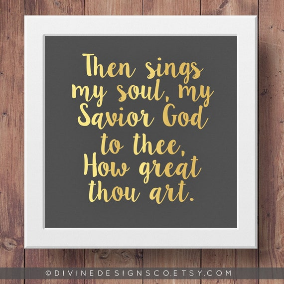 How Great Thou Art Lyrics Printable Lds Hymn Quote Faux Etsy