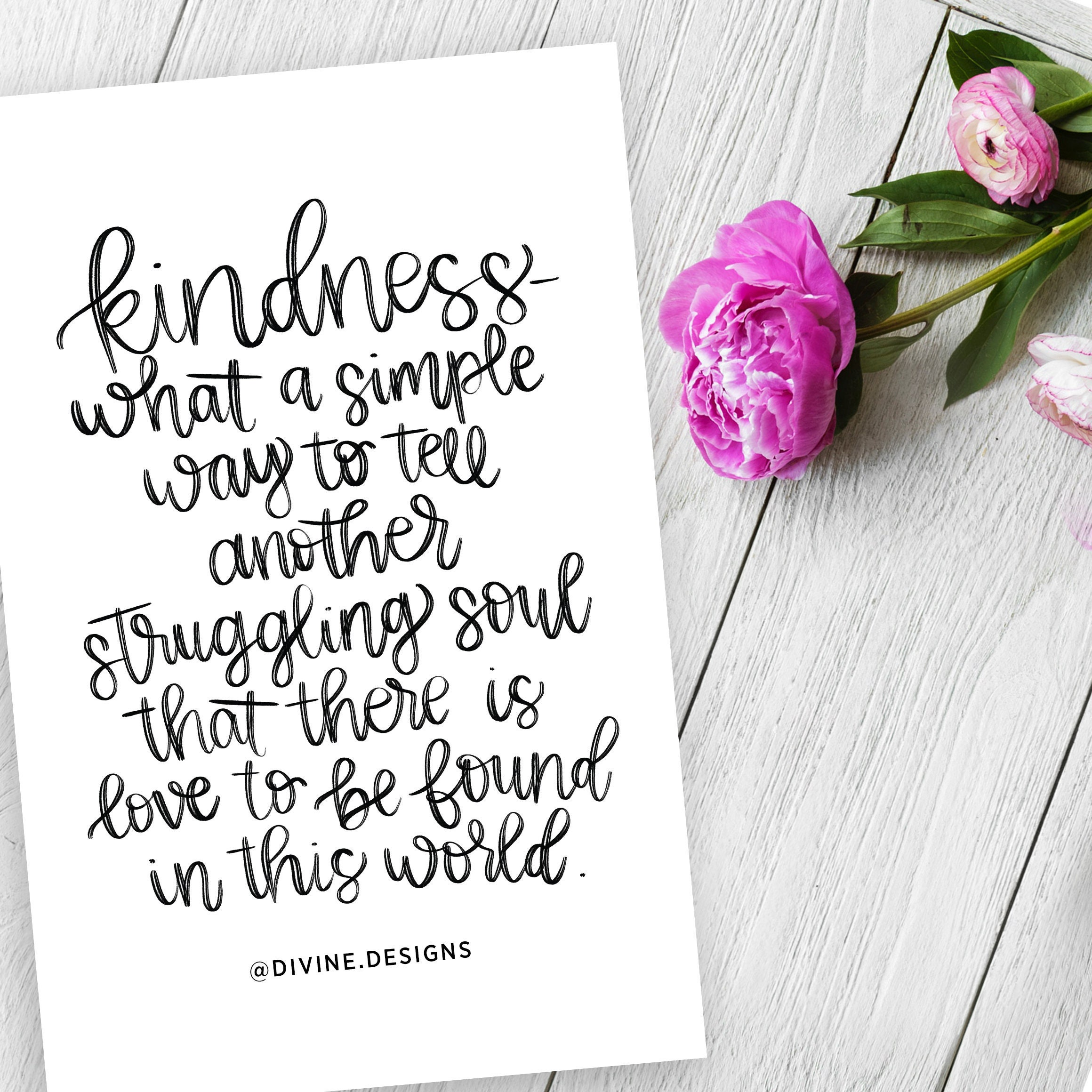 Kindness Lettering Quotes What A Simple Way To Tell Another Etsy