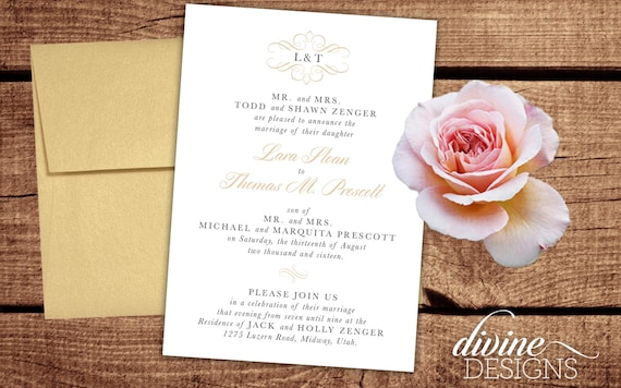 elegant wedding announcements lds weddings printable or we etsy